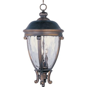 "Camden Collection 3-Light 26"" Golden Bronze Outdoor Hanging Light with Water Glass 41429WGGO"