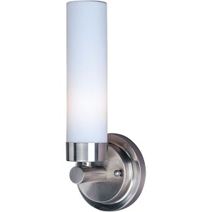 "Cilandro Collection 1-Light 12"" Satin Nickel Wall Sconce with White Glass 53006WTSN"