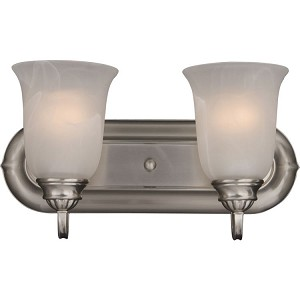 "Essentials Collection 2-Light 14"" Satin Nickel Vanity with Marble Glass 7136MRSN"