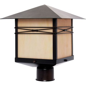 "Taliesin Collection 1-Light 13"" Burnished Outdoor Pier/Post Mount with Iridescent Glass 8044IRBU"