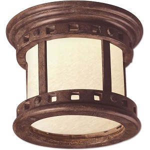 "Santa Barbara Collection 1-Light 9"" Sienna Outdoor Ceiling Light with Mocha Glass 85030MOSE"