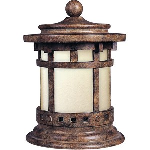 "Santa Barbara Collection 1-Light 12"" Sienna Outdoor Energy Efficient Deck Lantern with Mocha Glass 85032MOSE"