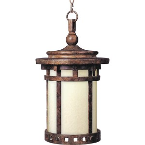 "Santa Barbara Collection 1-Light 17"" Sienna Outdoor Hanging Light with Mocha Glass 85038MOSE"