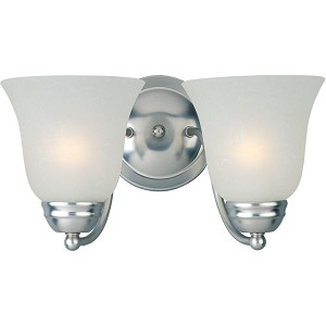 "Basix Collection 2-Light 13"" Satin Nickel Vanity with Ice Glass 85132ICSN"