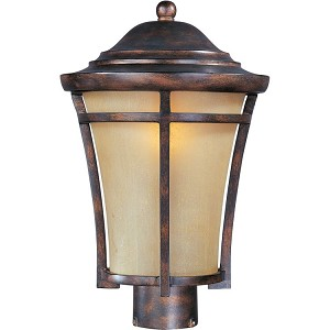 "Balboa Collection 1-Light 15"" Copper Oxide Outdoor Pier/Post Mount with Golden Frost Glass 85160GFCO"