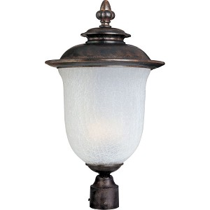 "Cambria Collection 1-Light 15"" Chocolate Outdoor Pier/Post Mount with Frost Crackle Glass 85190FCCH"