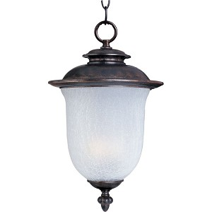 "Cambria Collection 1-Light 13"" Chocolate Outdoor Hanging Light with Frost Crackle Glass 85199FCCH"