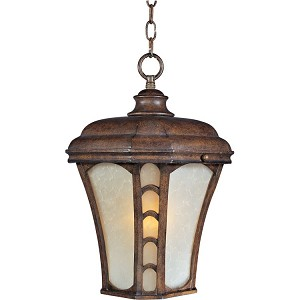 "Lake Shore Collection 1-Light 11"" Antique Pecan Outdoor Hanging Light with Latte Glass 85487LTAP"