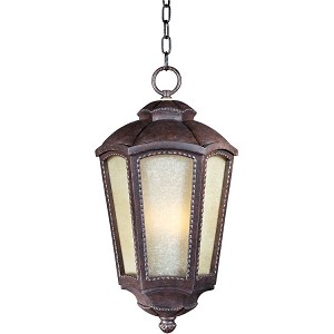 "Pacific Heights Collection 1-Light 11"" Mottled Leather Outdoor Hanging Light with Tawny Linen Glass 85497TLML"