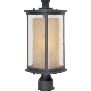 "Bungalow Collection 1-Light 18"" Bronze Outdoor Pier/Post Mount with Seedy/Wilshire Glass 85650CDWSBZ"