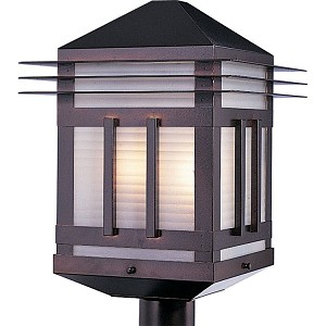 "Gatsby Collection 2-Light 19"" Burnished Outdoor Pier/Post Mount with Prairie Rib Frost Glass 8725PRBU"