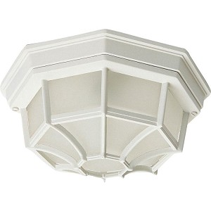 "Flush Mount Collection 1-Light 11"" White Outdoor Ceiling Light with Frosted Glass 87920WT"