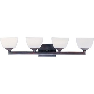 "Angle Collection 4-Light 29"" Oil Rubbed Bronze Vanity with Satin White Glass 9034SWOI"