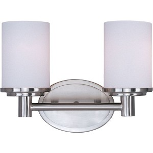 "Cylinder Collection 2-Light 12"" Satin Nickel Vanity with Satin White Glass 9052SWSN"