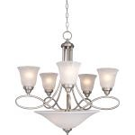 "Nova Collection 7-Light 27"" Satin Nickel Chandelier with Marble Glass 11041MRSN"