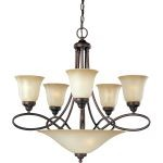 "Nova Collection 7-Light 27"" Oil Rubbed Bronze Chandelier with Wilshire Glass 11041WSOI"