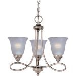 "Nova Collection 3-Light 18"" Satin Nickel Mini Chandelier with Marble Glass 11042MRSN"