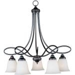 "Nova Collection 5-Light 28"" Oil Rubbed Bronze Chandelier with Wilshire Glass 11043WSOI"
