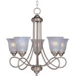 "Nova Collection 5-Light 26"" Satin Nickel Chandelier with Marble Glass 11044MRSN"