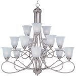 "Nova Collection 15-Light 41"" Satin Nickel Chandelier with Marble Glass 11045MRSN"