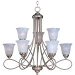 "Nova Collection 9-Light 31"" Satin Nickel Chandelier with Marble Glass 11046MRSN"