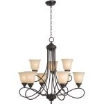 "Nova Collection 9-Light 31"" Oil Rubbed Bronze Chandelier with Wilshire Glass 11046WSOI"
