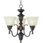 "Soho Collection 3-Light 16"" Oil Rubbed Bronze Mini Chandelier with Soft Vanilla Glass 11049SVOI"