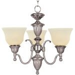 "Soho Collection 3-Light 16"" Satin Nickel Mini Chandelier with Soft Vanilla Glass 11049SVSN"