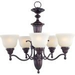 "Soho Collection 5-Light 25"" Oil Rubbed Bronze Chandelier with Soft Vanilla Glass 11053SVOI"