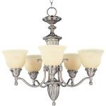 "Soho Collection 5-Light 25"" Satin Nickel Chandelier with Soft Vanilla Glass 11053SVSN"