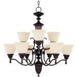 "Soho Collection 9-Light 31"" Oil Rubbed Bronze Chandelier with Soft Vanilla Glass 11054SVOI"