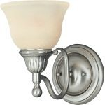 "Soho Collection 1-Light 6"" Satin Nickel Wall Sconce with Soft Vanilla Glass 11056SVSN"