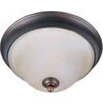 "Brighton Collection 3-Light 16"" Oil Rubbed Bronze Flush Mount with Embossed Vanilla Glass 11171EVOI"