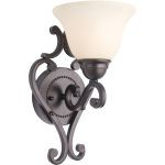 "Manor Collection 1-Light 7"" Oil Rubbed Bronze Wall Sconce with Frosted Ivory Glass 12211FIOI"