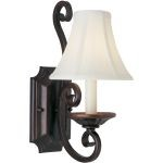 "Manor Collection 1-Light 7"" Oil Rubbed Bronze Wall Sconce with Fabric Shade 12217OI/SHD123"