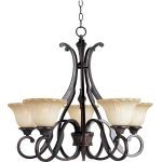 "Allentown Collection 5-Light 25"" Oil Rubbed Bronze Chandelier with Wilshire Glass 13505WSOI"