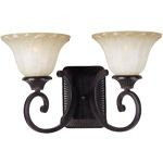 "Allentown Collection 2-Light 17"" Oil Rubbed Bronze Wall Sconce with Wilshire Glass 13512WSOI"