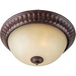 "Augusta Collection 2-Light 13"" Auburn Florentine Flush Mount with Cafe Glass 13560CFAF"