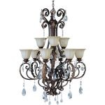 "Augusta Collection 9-Light 48"" Auburn Florentine Chandelier with Cafe Glass 13566CFAF/CRY080"