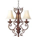 "Augusta Collection 3-Light 22"" Auburn Florentine Mini Chandelier 13584AF/SHD62"