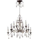 "Chic Collection 10-Light 38"" Heritage Bronze Chandelier with Crystal 14307HR"