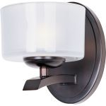 "Elle Collection 1-Light 5"" Oil Rubbed Bronze Wall Sconce with Frosted Glass 19051FTOI"