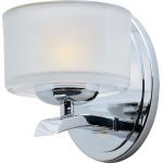"Elle Collection 1-Light 5"" Polished Chrome Wall Sconce with Frosted Glass 19051FTPC"