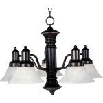 "Newburg Collection 5-Light 17"" Oil Rubbed Bronze Chandelier with Marble Glass 20325MROI"