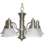 "Newburg Collection 5-Light 17"" Satin Nickel Chandelier with Marble Glass 20325MRSN"