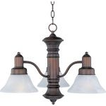 "Newburg Collection 3-Light 17"" Oil Rubbed Bronze Chandelier with Marble Glass 20326MROI"