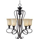 "Infinity Collection 5-Light 32"" Oil Rubbed Bronze Chandelier with Wilshire Glass 21305WSOI"