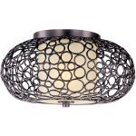 "Meridian Collection 1-Light 16"" Umber Bronze Flush Mount with Dusty White Glass 21340DWUB"