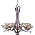 "Meridian Collection 5-Light 33"" Umber Bronze Chandelier with Dusty White Glass 21345DWUB"