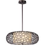 "Meridian Collection 2-Light 24"" Umber Bronze Drum Pendant with Dusty White Glass 21347DWUB"